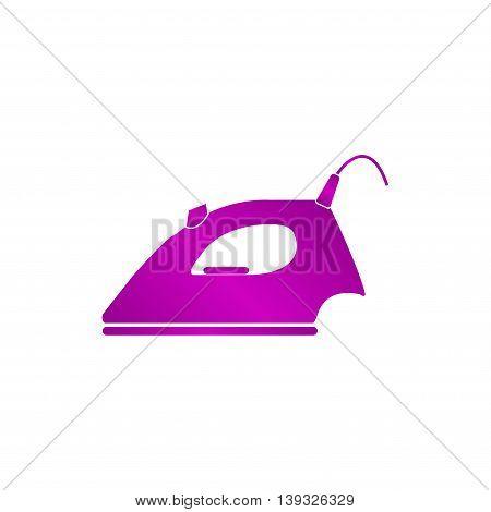 Steam iron icon. Flat design style EPS