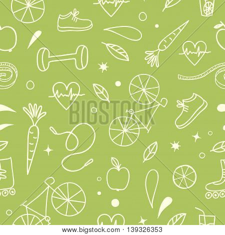 Healthy lifestyle doodle seamless pattern on green background. Vector hand drawn elements including food sport equipment and health symbols for your design.
