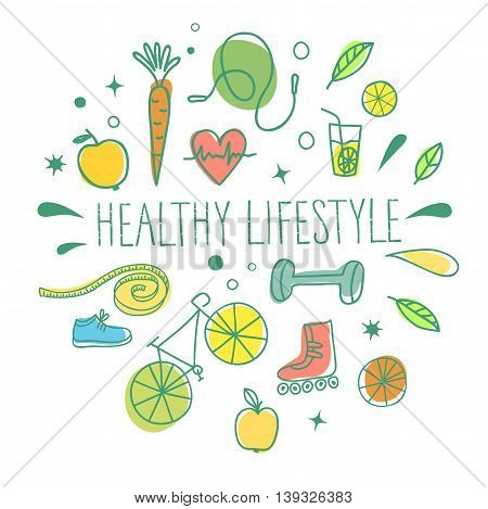 Healthy lifestyle doodle set with title on white background. Vector hand drawn elements including food sport equipment and health symbols for your design.