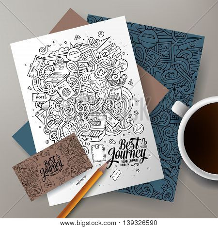 Cartoon cute line art vector hand drawn doodles traveling corporate identity set. Templates design of business card, flyers, posters, papers on the table.