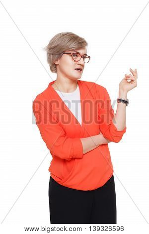 Blond stylish woman in eyeglasses. Young fashionable businesswoman in casual clothes. Beautiful attractive female portrait isolated at white background.
