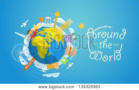 World famous signts abstract silhouettes collection. Travel concept vector illustration. Around the world