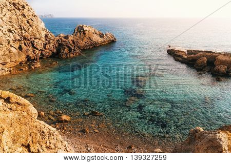 View of the bay with azure water wild beach of Paguera Mallorca Spain
