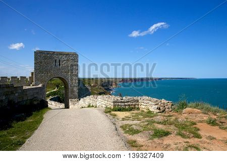 The remnants of the fortress wall. Kaliakra cap. Bulgaria. Europe