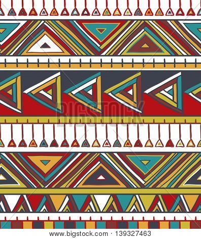 Abstract geometric seamless pattern. Aztec style pattern with triangle and line. Vector illustration