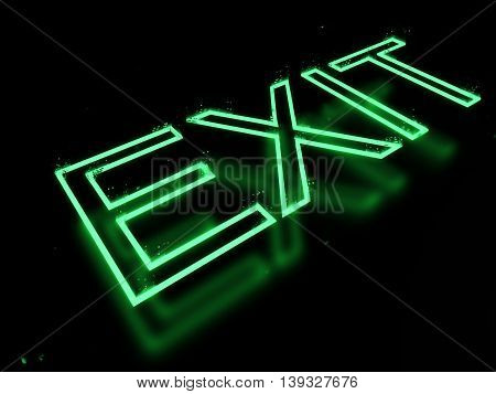 3d render exit neon sign isolated on black background. 3D illustration