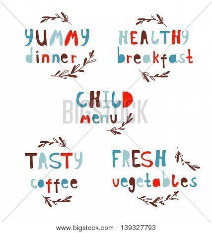 Modern Vector Alphabet. Stylish lettering. Dinner breakfast. Typography menu.