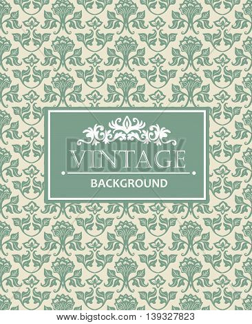 Vintage background antique victorian silver ornament floral luxury ornamental green pattern template for design. Vector template.