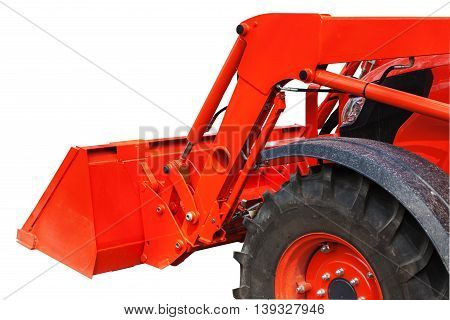Modern bulldozer with bucket isolated on white background