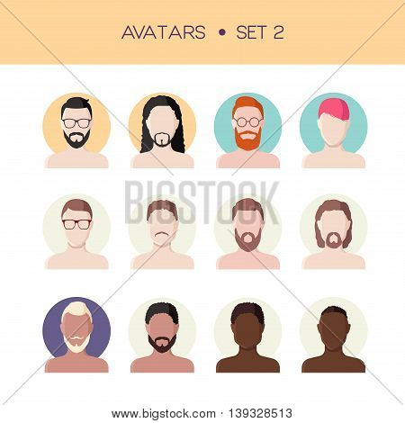 Vector set of avatars, men faces flat style, abstract face icons with different hairstyles, male characters