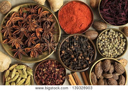 Cuisine ingredients  warm colors of herbs and spices