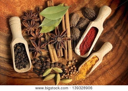 Cooking ingredients - warm colors of herbs and spices.