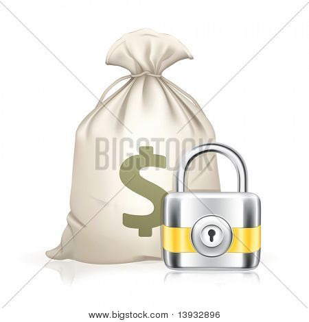 Lock and moneybag, vector icon