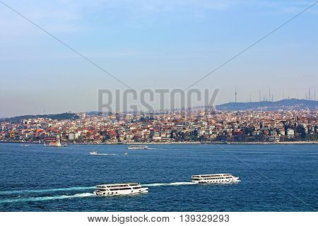 Istanbul Coast Asian side and Maiden tower view from Topkapi palace, Turkey
