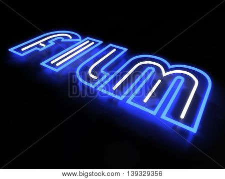 Film neon sign isolated on black background. 3D illustration