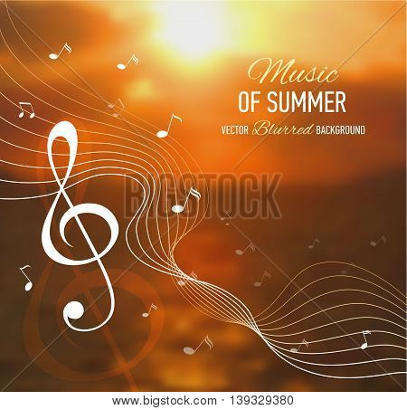 Music banner. Seaside blurred background with music notes and key. Designed text. Vector illustration.