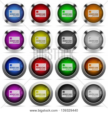 Set of Member card glossy web buttons. Arranged layer structure.