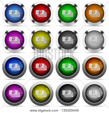 Set of Ruble banknotes glossy web buttons. Arranged layer structure.