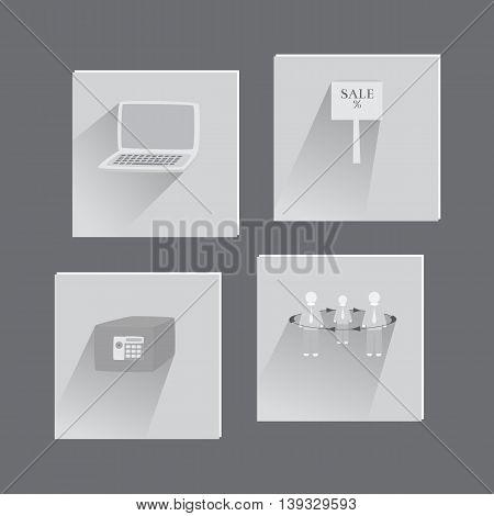 Set with Business Flat Icons in Grayscale Colors. Suit for Web Usage and Mobile apps.Vector EPS 10