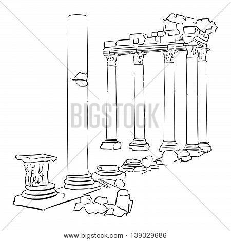 Side Temple Apollo Turkey Sketched