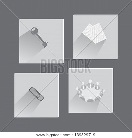 Office Items and Concepts in Set of Icons Made in Flat Style. Vector EPS 10