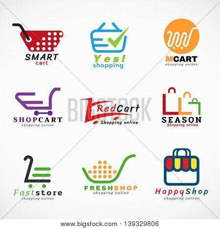 Shopping cart logo and shopping bags logo vector set graphic design
