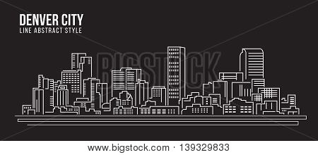 Cityscape Building Line art Vector Illustration design - Denver city