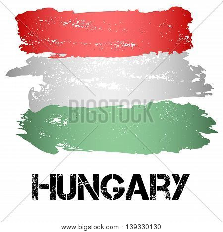 Flag of Hungary from brush strokes in grunge style isolated on white background. Country in Eastern Europe. Vector illustration