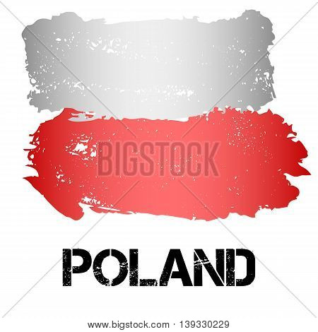 Flag of Poland from brush strokes in grunge style isolated on white background. Country in Eastern Europe. Vector illustration