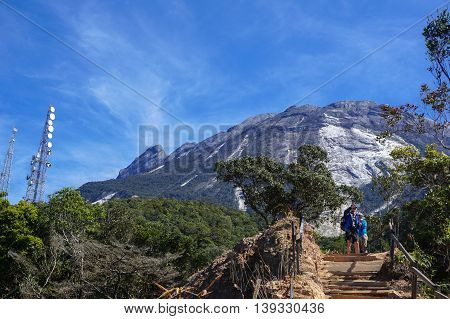 Ranau Sabah Malaysia-March 12, 2016:Unidentified climbers seen at Timpohon trail to Laban Rata of Mount Kinabalu.Climbing season officially start on Dec 1,2015 after being closure due to earthquake