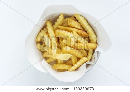 French Fries in a dish on White Background.