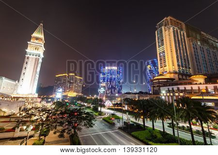 Taipa, Macau - February 4, 2015:  Sands Cotai Central is a casino resort on the Cotai Strip, including the world's largest Holiday Inn, Conrad, and Sheraton