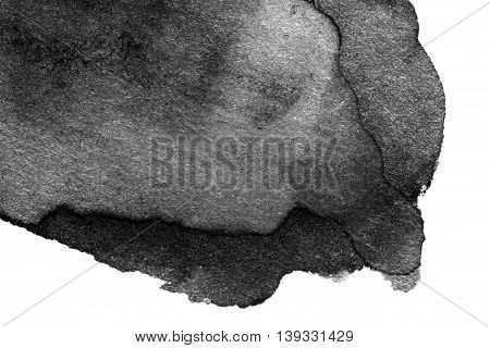 Hand drawn watercolor black stain with water color paint blotch and brush stroke - abstract watercolour spot ink for your design isolated on white background. High resolution