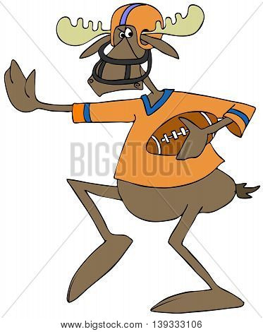 Illustration of a bull moose running with a football with his arm outstretched.