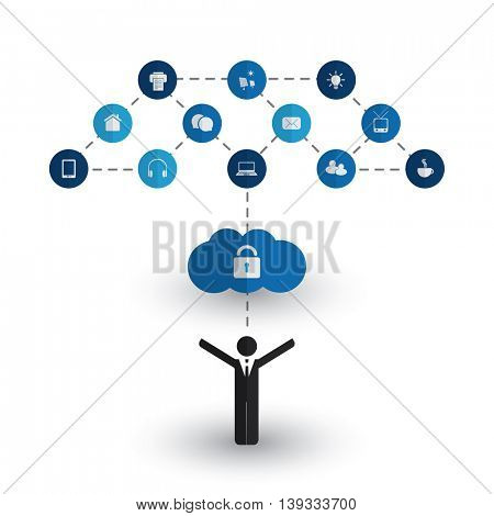 Safe and Secure Digital World - Networks, IoT, Business IT and Cloud Computing Concept Design with Icons