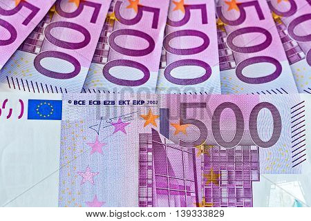 Euro money banknotes. Five hundred bills banknotes.European Currency.
