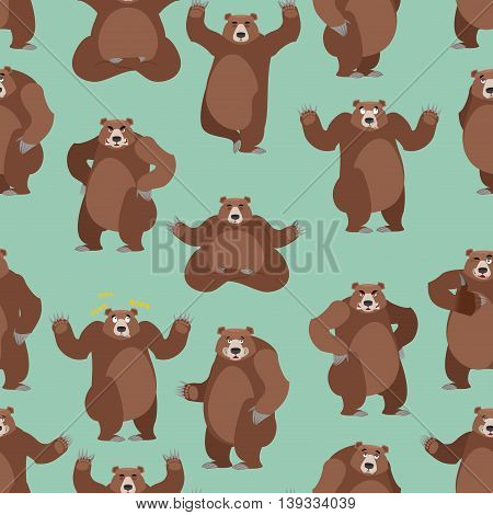 Bear Seamless Pattern. Grizzly Ornament. Set Wild Animal. Forest Animal With Brown Fur. Large Predat