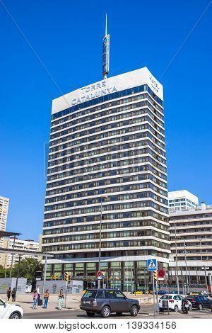 BARCELONA SPAIN - JULY 6 2016: The Hotel Torre Catalunya located near the train station Sants.