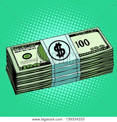 Money dollars cash pop art retro vector. Banknotes Finance