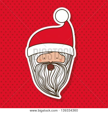 santa claus character with dotted background icon design, vector illustration  graphic