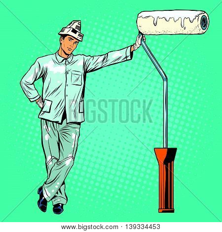 house painter with paint rollers pop art retro vector. Profession and specialization. Home repair