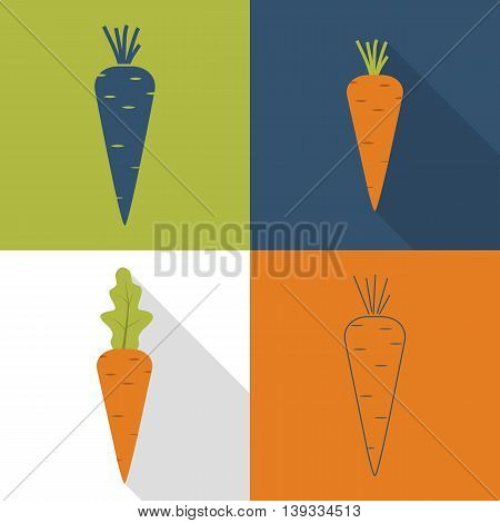 Carrot icon. vector illustration. Set of four versions: flat style with a long shadow black pictogram line.