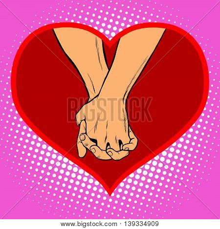 Male and female hand together in a red heart symbol of love pop art retro vector.