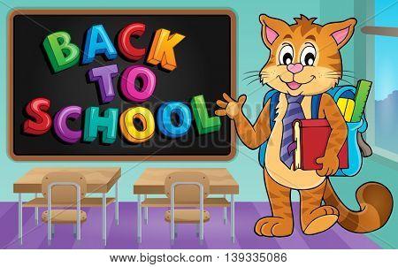 School cat theme image 3 - eps10 vector illustration.