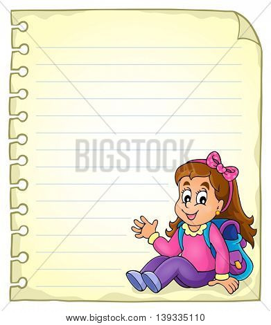 Notebook page with schoolgirl - eps10 vector illustration.