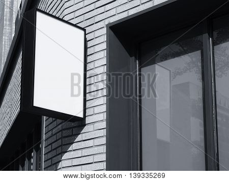 Signboard shop Black Square sign Mock up display exterior perspective