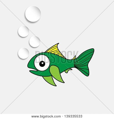 Funny fish with bulb green fish on a black background with air balls white paper on a gray background
