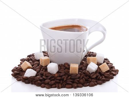 Cup Of Coffee With White And Brown Cubes Sugar