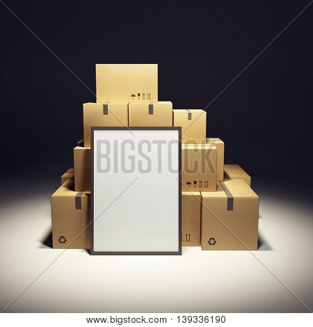 pile of cardboard box and empty billboard, 3d rendering