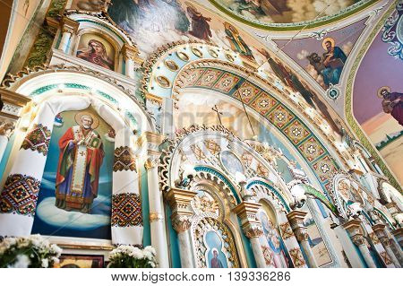 Mykykyntsi, Ukraine - Circa June, 2016: Icon Of Angels And Holy Apostles At Iconostasis On Church